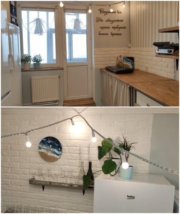 Декоративные элементы сделали кухню более уютной и стильной.