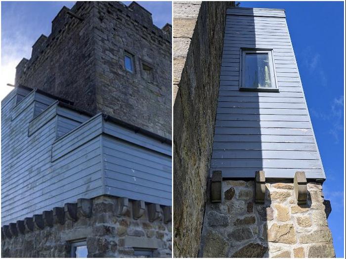 Нелепая реновация средневековой башни Folly вызывала бурю неодобрения со стороны общественности (Caldwell Tower, Великобритания).