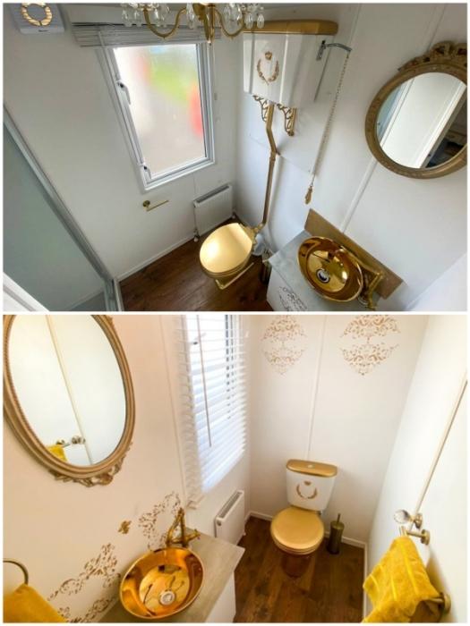 Ванные комнаты блестят и ослепительно сверкают золотом (Royal Caravan, Великобритания).