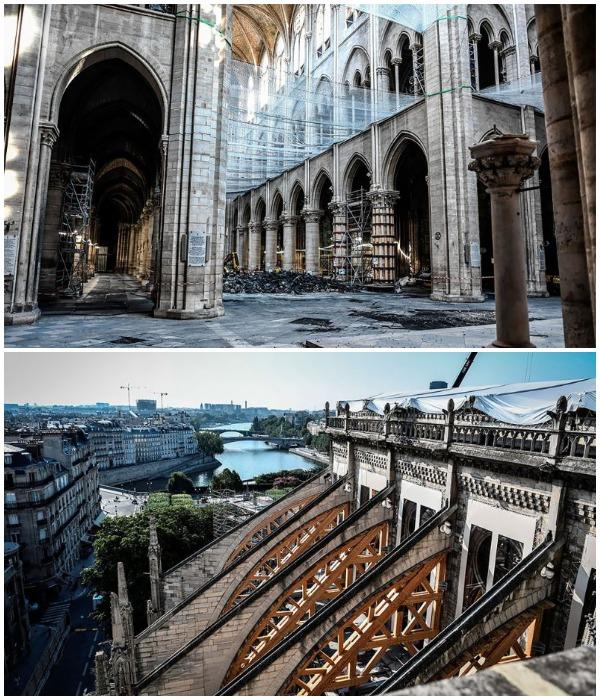 Укрепительные мероприятия, проведенные после пожара (Notre-Dame de Paris).