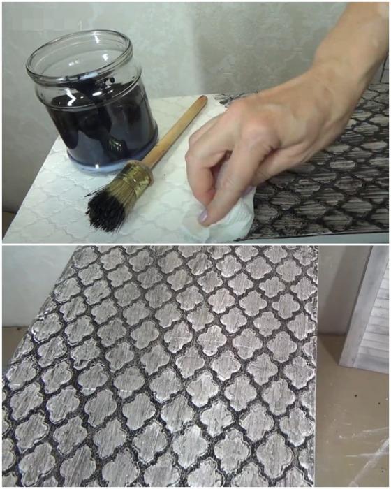 Процесс «состаривания» декоративной поверхности шкафа.