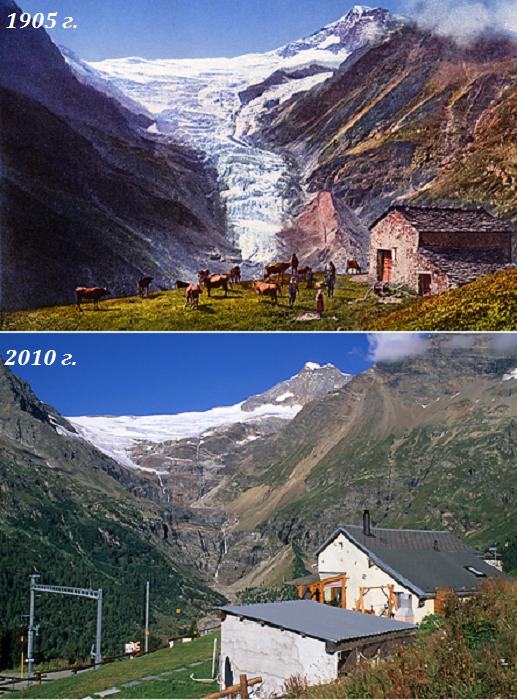 Ледник кантона Граубюнден на вершине Piz Palи (Швейцарские Альпы). | Фото: gletscherarchiv.de/ © Коллекция Общества экологических исследований, автор Сильвия Хамбергер.