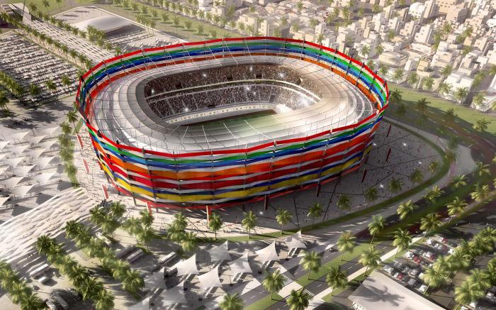Фасад стадиона Al-Gharafa будет украшен разноцветными лентами, символизирующими дружбу и равенство всех народов (Аль Гарафа, Катар ЧМ-2022). | Фото: domostroynn.ru.