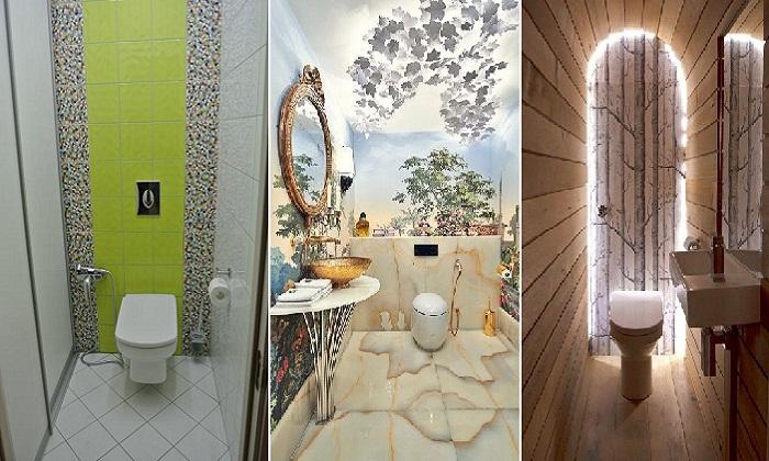 Интересные дизайнерские решения в оформлении туалетной комнаты.