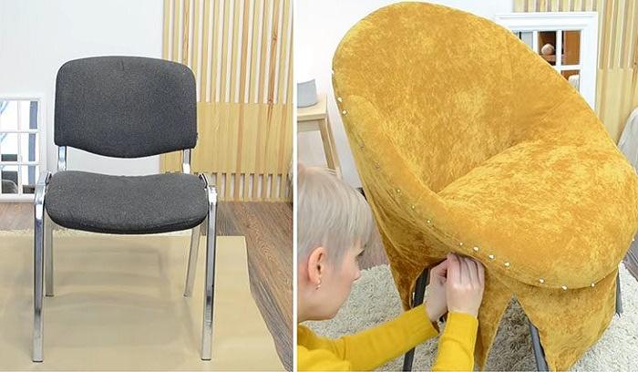 Офисный стул тоже можно превратить в удобное мягкое кресло. | Фото: pinterest.com.mx.