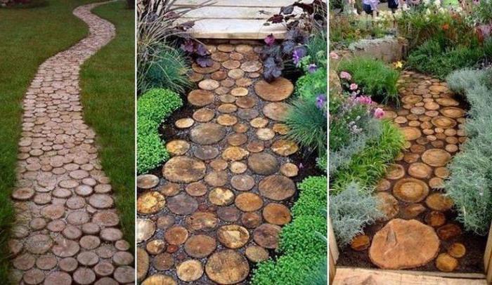 Из спилов дерева можно сделать оригинальные садовые дорожки и даже замостить двор. | Фото: blogforbuilder.ru/ ogorod.ru.