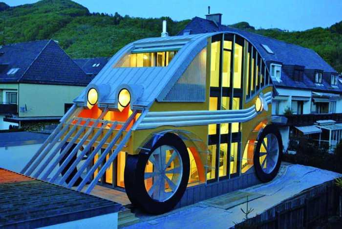 Необычной архитектурной формы особняк в виде автомобиля Volkswagen Beetle (Жук) находится в Зальцбурге (Австрия). | Фото: globaldigital.com.ua.