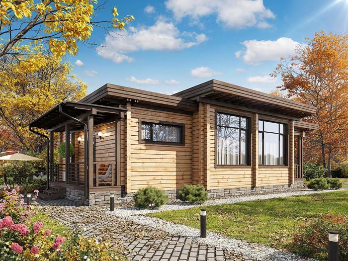 Бревенчатый дом из ламинированного бруса (Ecohousemart Kit). | Фото: amazon.com.