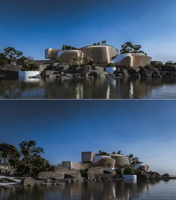Дизайнерский проект ресторана-обсерватории ACANTILADO (концепт студии Veliz Arquitecto).