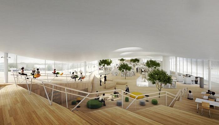 Третий этаж отдан под огромный читальный зал (Центральная библиотека Oodi, Хельсинки). | Фото: art-and-houses.ru.