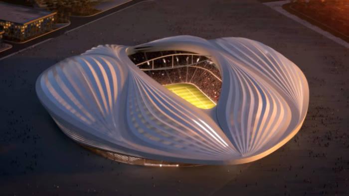 Стадион в городе Аль-Вакра спроектировали под руководством гениальной Захи Хадит (Al-Wakrah Stadium, Катар-2022). | Фото: qatar22.ru.