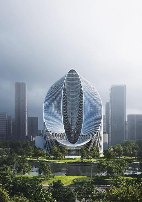 О-образная конструкция здания повторяет символ бренда крупнейшей китайской компании OPPO (концепт O-Tower, BIG). | Фото: archdaily.com.