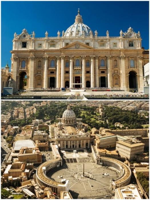 Собор Святого Петра и площадь перед ним – один из самых впечатляющих архитектурных ансамблей эпохи Возрождения (Ватикан, Италия).