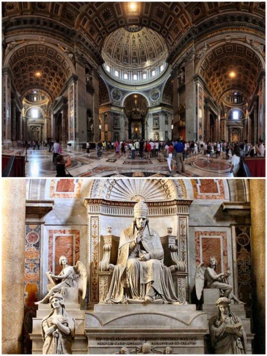 В проектировании и оформлении уникальной базилики принимали участие гениальные зодчие, художники и скульпторы с мировым именем (Basilica di San Pietro, Ватикан).