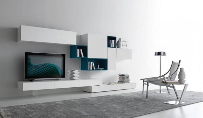 Белая модульная мебель в современную гостиную.