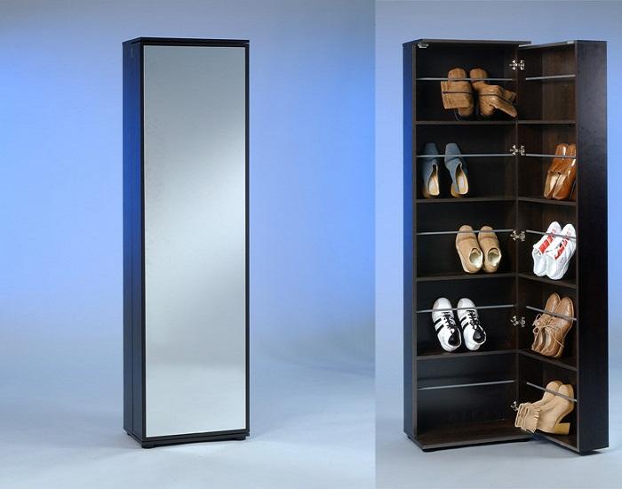 Как спрятать обувной шкаф за зеркалом.