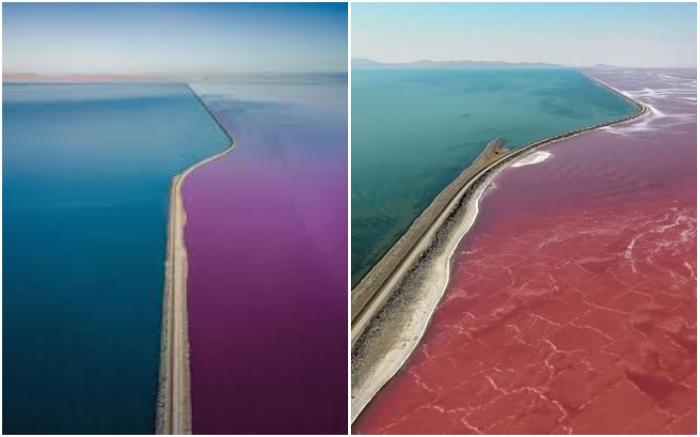 Железнодорожное полотно разделило Большое соленое озеро на две части (США).