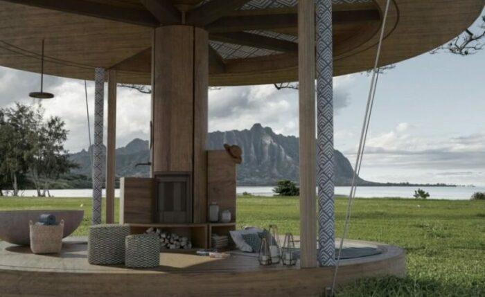 Так выглядит домик с открытыми стенами и скрытыми перегородками (концепт Casa Ojala').   Фото: newatlas.com.