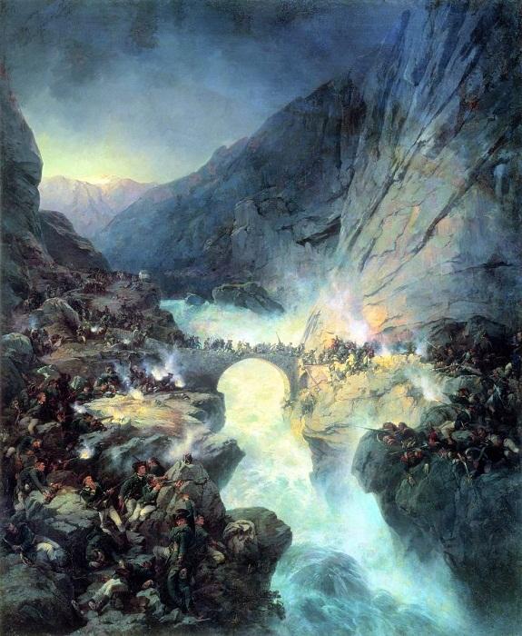 Бой на Чертовом мосту 14 сентября 1799 года. Картина Коцебу А.Е. (1815 – 1889 гг).
