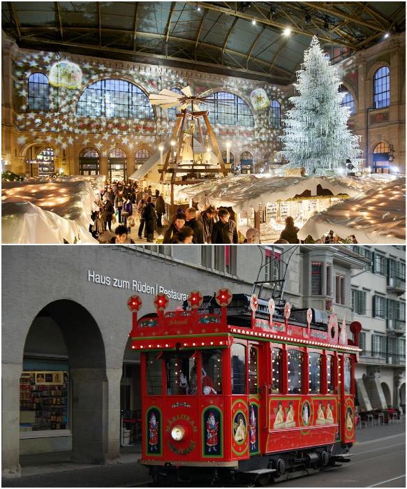 Елка, усыпанная кристаллами Swarovski, и красный трамвайчик Санты – самые узнаваемые рождественские атрибуты Цюриха (Швейцария). | Фото: zagran.guru/ otzyv.ru.