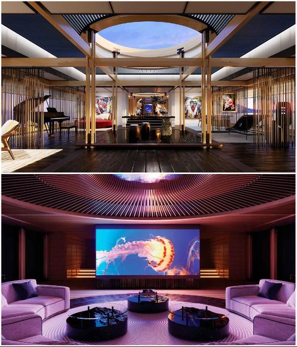 К услугам гостей будут роскошные гостиная и кинозал (концепт «AQUA»). | Фото: interestingengineering.com/ © Sinot Yacht.