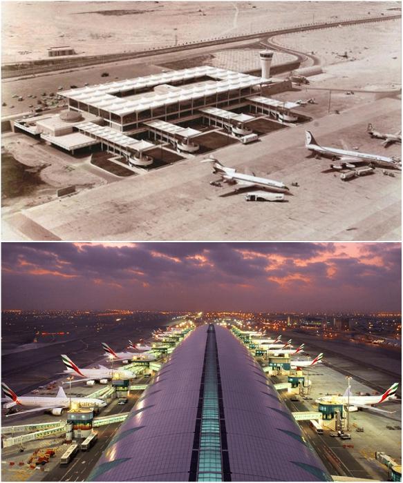 Международный аэропорт Дубаи в 1971 г. и один из его терминалов в 2019 г. | Фото: foto-history.livejournal.com/ viaggiareadubai.it.
