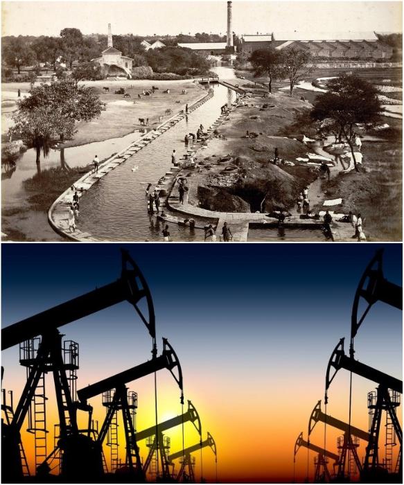 Месторождение нефти в Дубаи (фото 1966 и 2018 гг.). | Фото: bigpicture.ru/ petroturk.com.