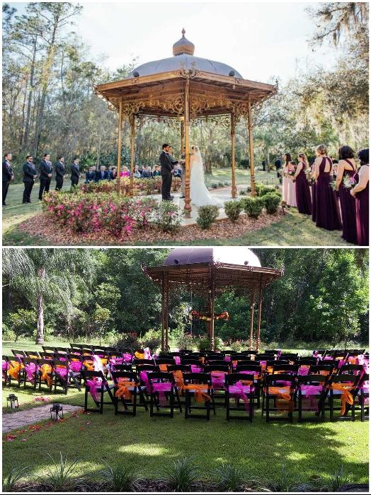 Обряд бракосочетания происходит в специально созданной романтической беседке («Danville», США). | Фото: stevenmillerpix.com.