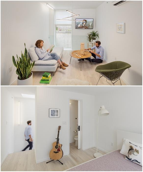 В мини-небоскребе на 5 уровнях обустроили комфортные жилые зоны с кухней и столовой в придачу (Tiny Tower Interface, Филадельфия).  | Фото: archiscene.net.