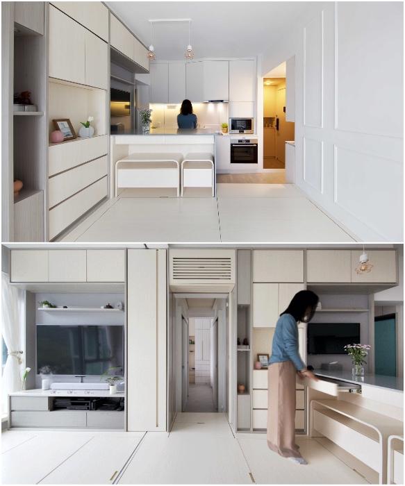 Кухня обустроена по последнему слову техники и имеет множество систем хранения (Smart Zendo). | Фото: newatlas.com/ © Sim-Plex.