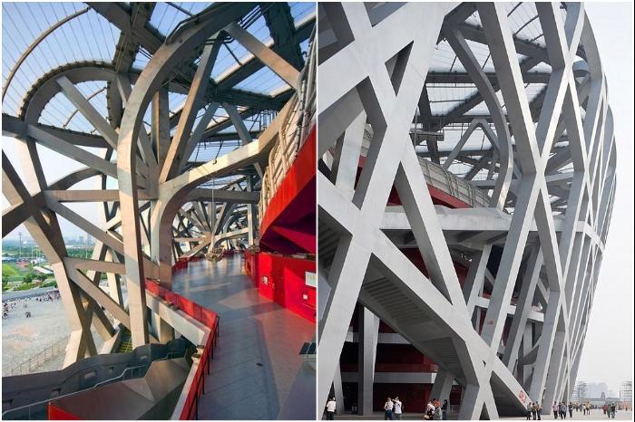 На создание олимпийской арены ушло 40 тыс. тонн высококлассной стали (National Stadium, Пекин). | Фото: beijingbirdsnest.wordpress.com.