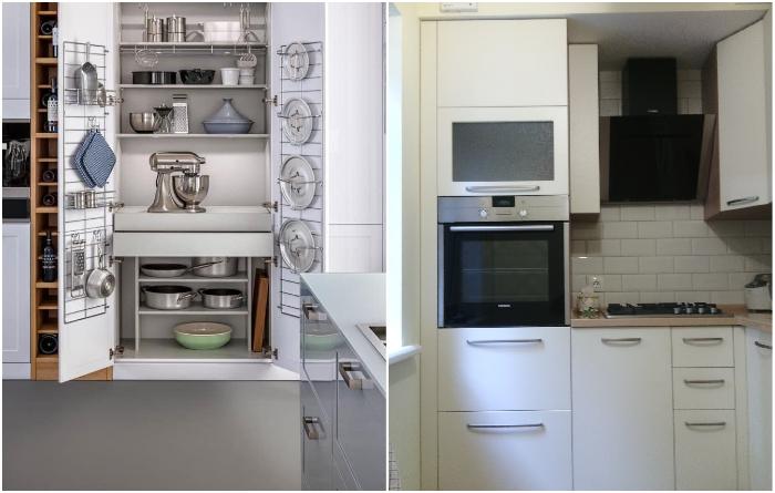 Кухонные пеналы лучше выбирать максимальной высоты и с рациональным использованием внутренней площади. | Фото: m.roomble.com/ vitriak-kuhni.blogspot.com.