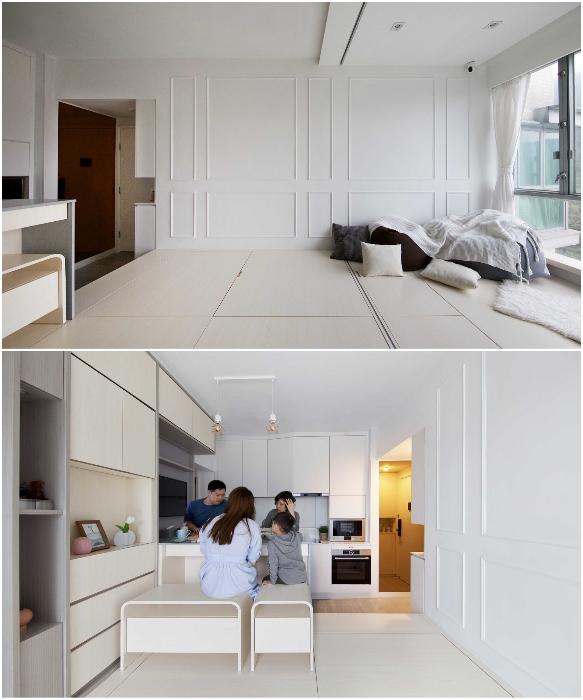 Основную зону разделили на кухню и многофункциональную гостиную (Smart Zendo). | Фото: newatlas.com/ © Sim-Plex.