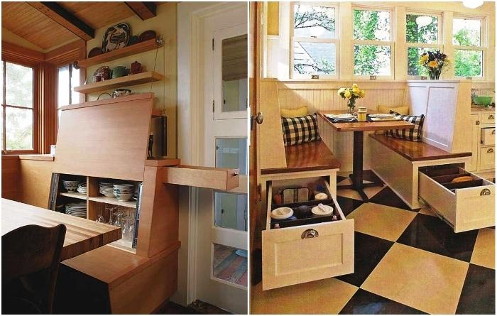 Обеденный уголок может стать местом для хранения кухонной утвари. | Фото: pinterest.com/ decorarquitectura.blogspot.com.