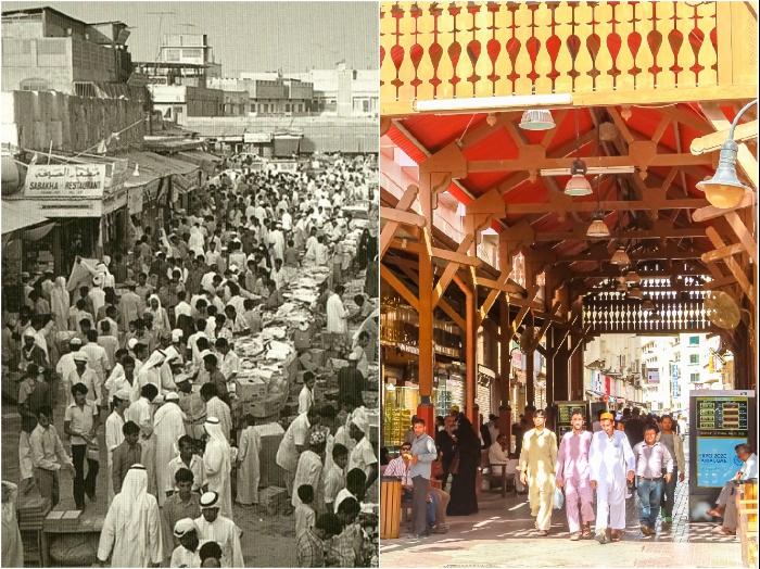 Одна из рыночных площадей Дубаи в 1950-е гг. и Рынок золота в 2018 г. | Фото: ismail-shan.ucoz.com/ meghashop.com.
