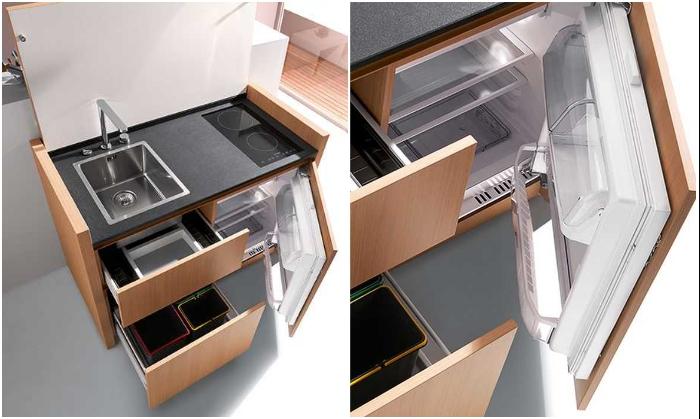 В обычной тумбе спрятали практически полноценную кухню (Мini kitchen K1). | Фото: pinterest.com.