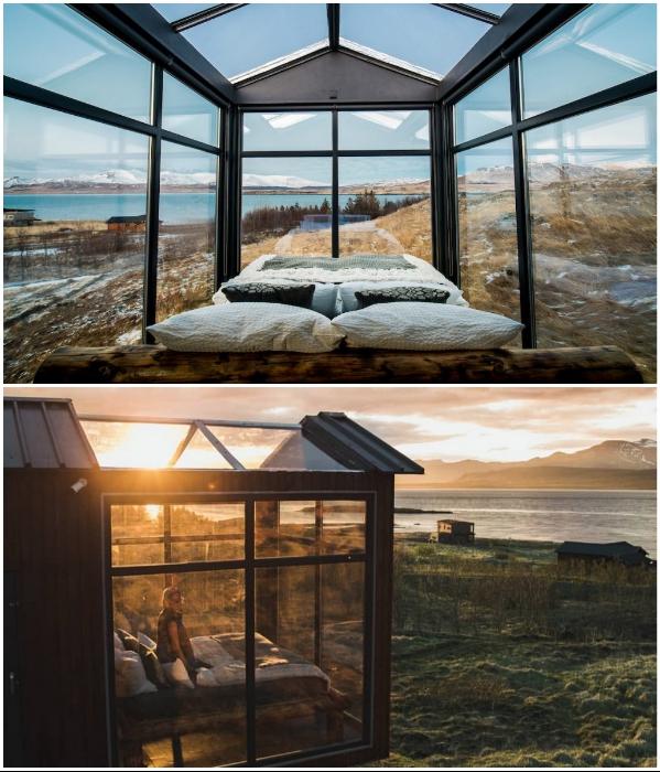 Стеклянный домик «Hlin» расположен на берегу фьорда Hval на западе Исландии. | Фото: panoramaglasslodge.com.
