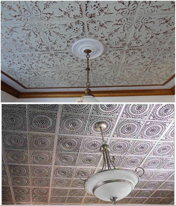Некоторые пытаются окружить себя «золоченой роскошью» с помощью потолочной плитки из самого дешевого пенопласта.   Фото: n-mar.ru/ stroyusnulya.ru.