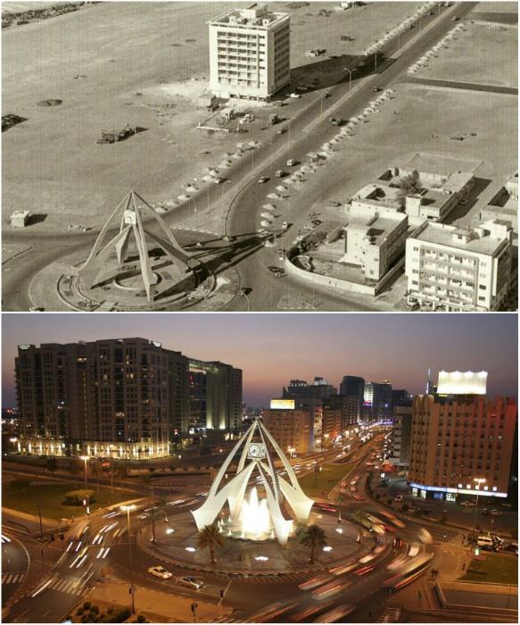 Часовая башня 1964 г. и 2015 г. (Дубаи). | Фото: flytothesky.ru .