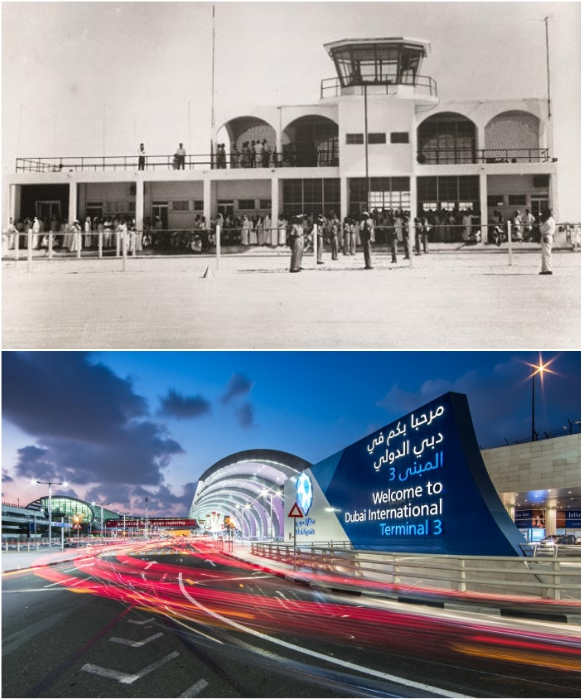 Изменения внешнего вида Международного аэропорта в Дубаи за последние 50 лет. | Фото: foto-history.livejournal.com/ pilotgid.ru.