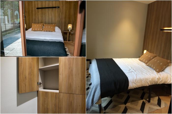 В спальне поместилась двуспальная кровать и шкаф для хранения вещей и постельных принадлежностей (VMD). | Фото: archdaily.com/ © Helioz Studio.