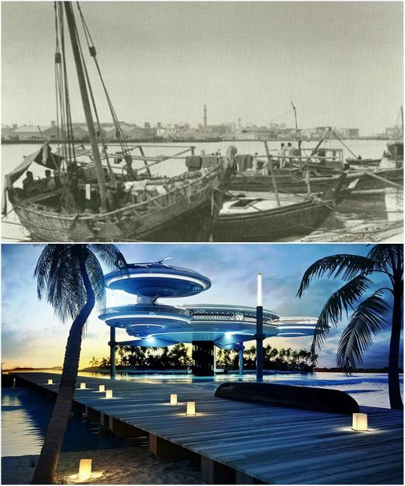 Так выглядел один из заливов Дубаи в 1960-х гг., теперь даже в воде есть уникальный 10-звездочный отель Hydropolis Undersea Resort. | Фото: swirled.com/ kartam47.livejournal.com.