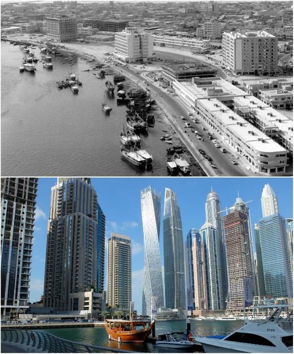 Набережная Дубаи в середине прошлого века и сейчас. | Фото: kartam47.livejournal.com/ tury.ru.