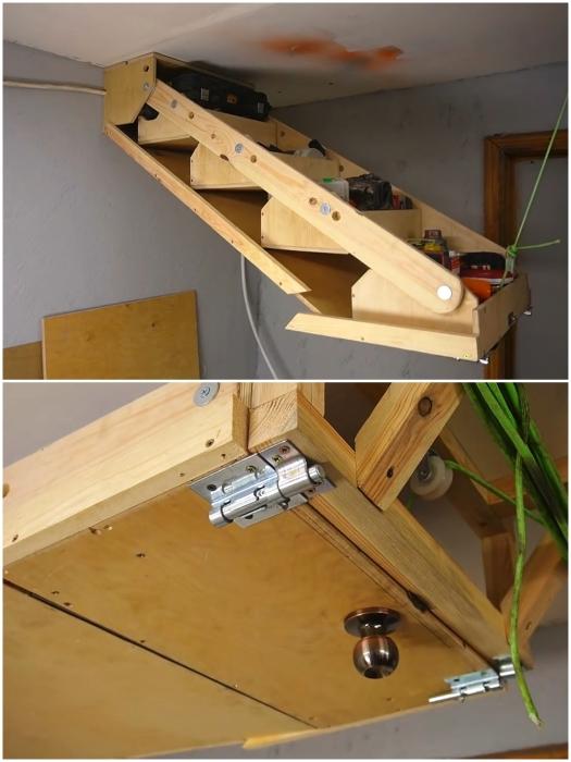 Процесс поднятия/опускания подвесной полки-стеллажа. | Фото: youtube.com/ © Men's Craft.