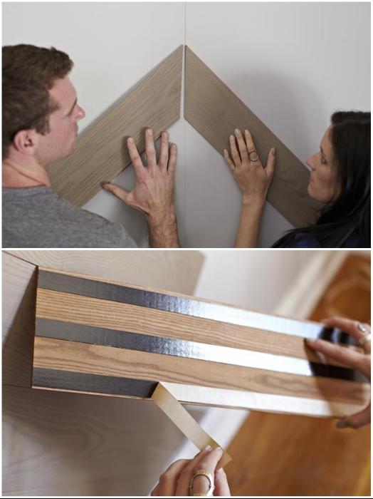 Нужно убедиться, что панели лягут ровно и только тогда снимать защитную ленту. | Фото: -design.ru.