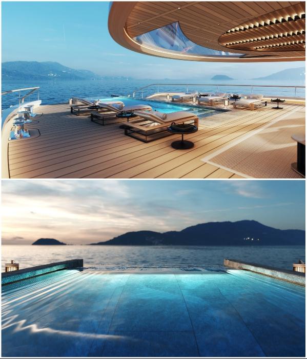 На задней палубе создан пейзажный бассейн, который направлен к океану (концепт «AQUA»). | Фото: sinot.com, © Sinot Yacht.