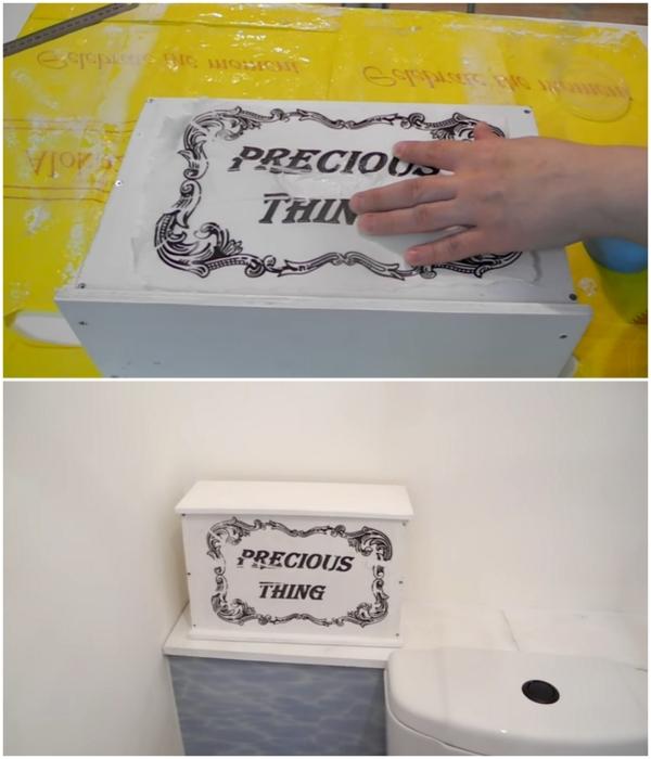 Ящик для туалетной бумаги Екатерина сделала самостоятельно. | Фото:  youtube.com/ © Екатерина Басми.