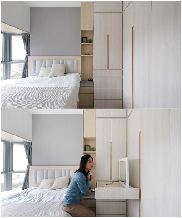 Несмотря на маленькие размеры спальни для родителей, удалось установить встроенный шкаф-гардеробную с выдвижным туалетным столиком (Smart Zendo). | Фото: design-milk.com/ © Sim-Plex.