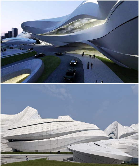 Плавные изогнутые линии ансамбля «Мэйсиху», воплощенные в белом бетоне (Чанши, Китай). | Фото: newatlas.com /© Virgile Simon Bertrand.