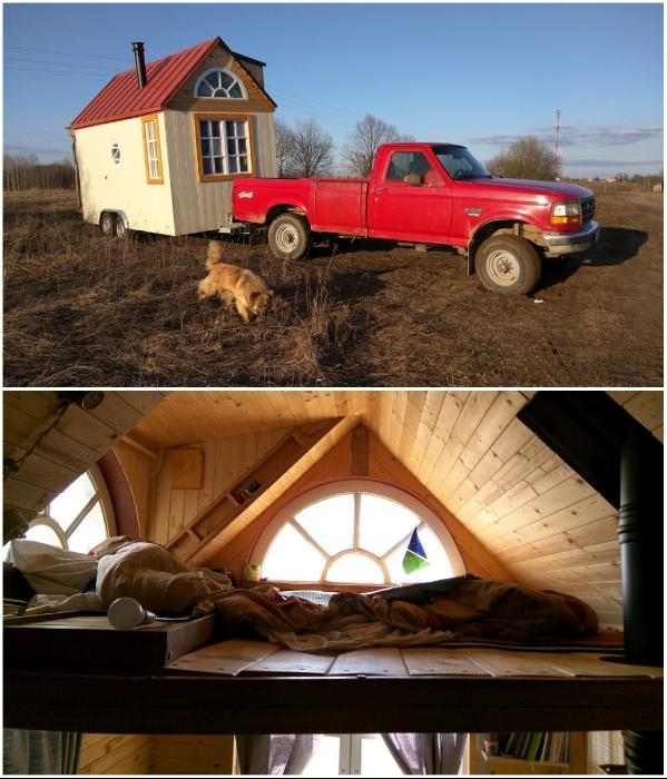 4-этажный особняк в Подмосковье Александр и Елена Зурбаганские променяли на эко-домик на колесах. | Фото: tiny-house.me.